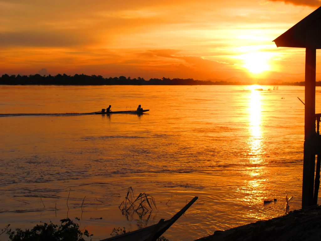 Sunset along the Mekong River in 4000 Islands, Laos.