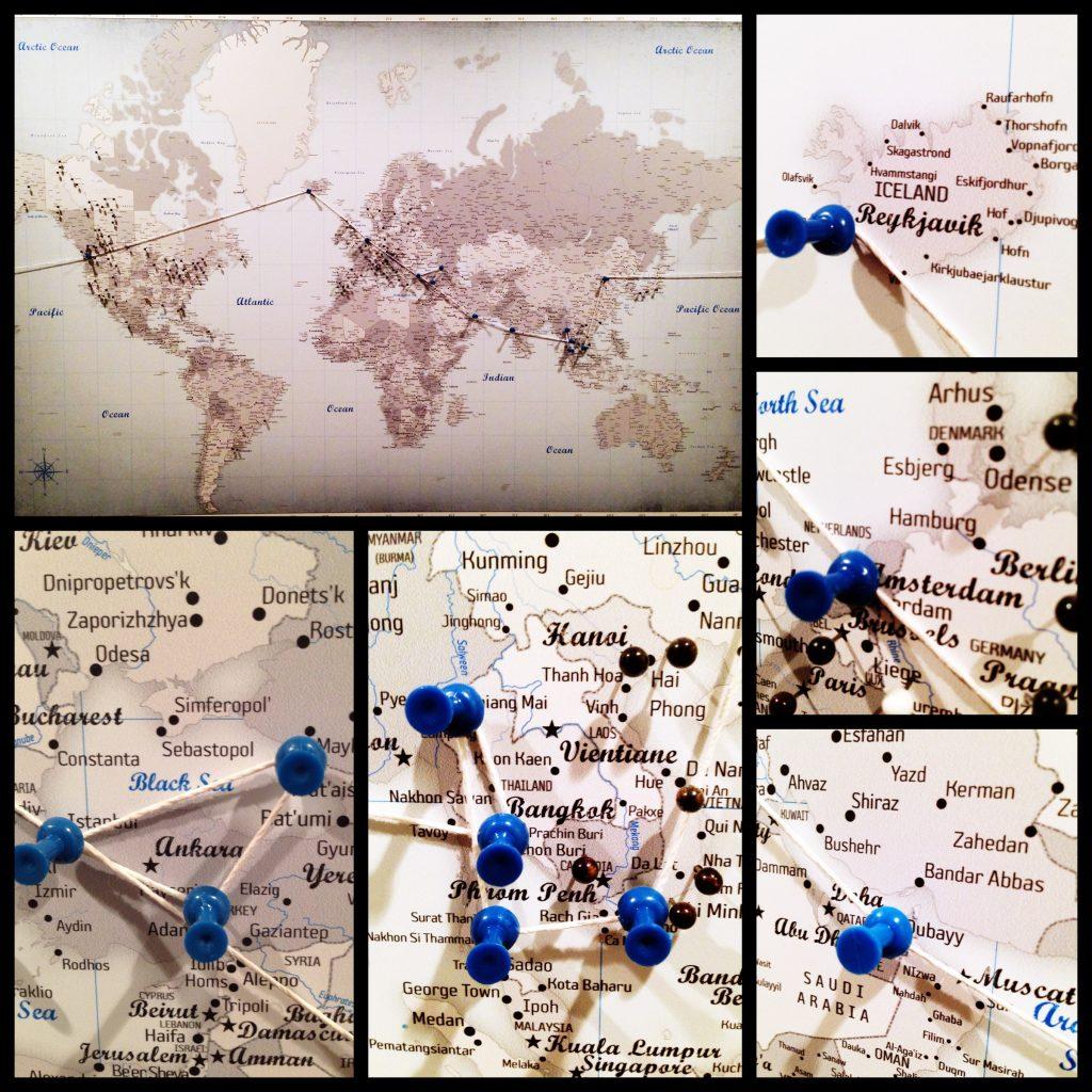 Around the world trip in pins!